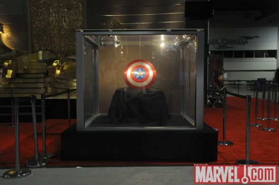 Captain America's shield from the Captain America: The First Avenger film, on display at Comic-Con 2010