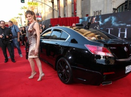 Rene Russo (Frigga) with an official S.H.I.E.L.D. Acura at the U.S. premiere of Thor