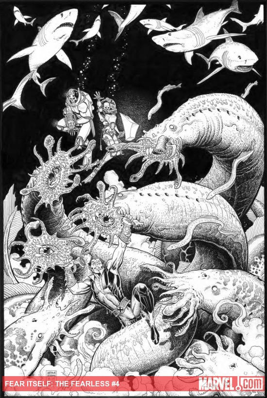 Fear Itself: The Fearless #4 inked cover by Arthur Adams