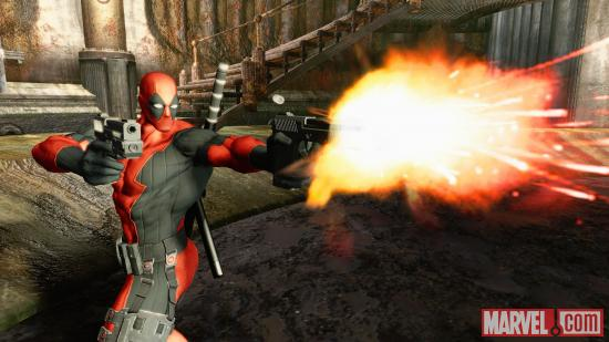 Deadpool opens fire in the Deadpool video game