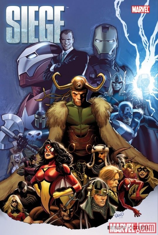 Image Featuring Iron Man, Loki, Spider-Woman (Jessica Drew), Spider-Man, Thor, Captain Marvel (Carol Danvers), The Winter Soldier, Ares, Venom (Mac Gargan), Daken