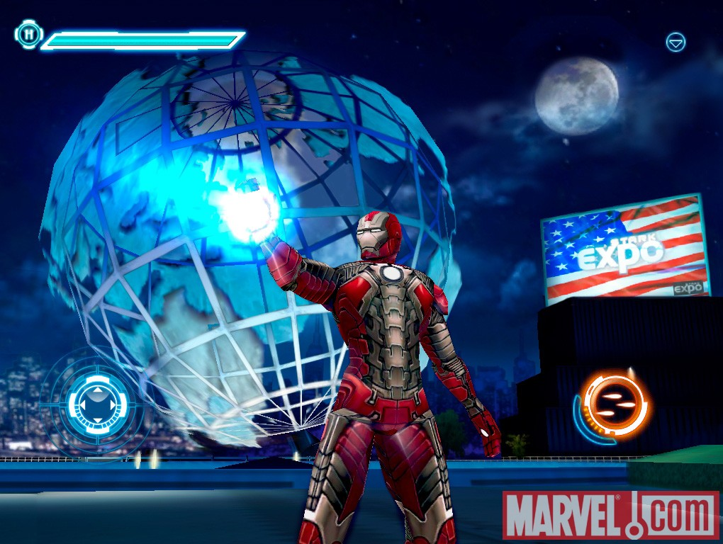 Iron Man rocks the Mark V armor in the iPad version of the Iron Man 2 game