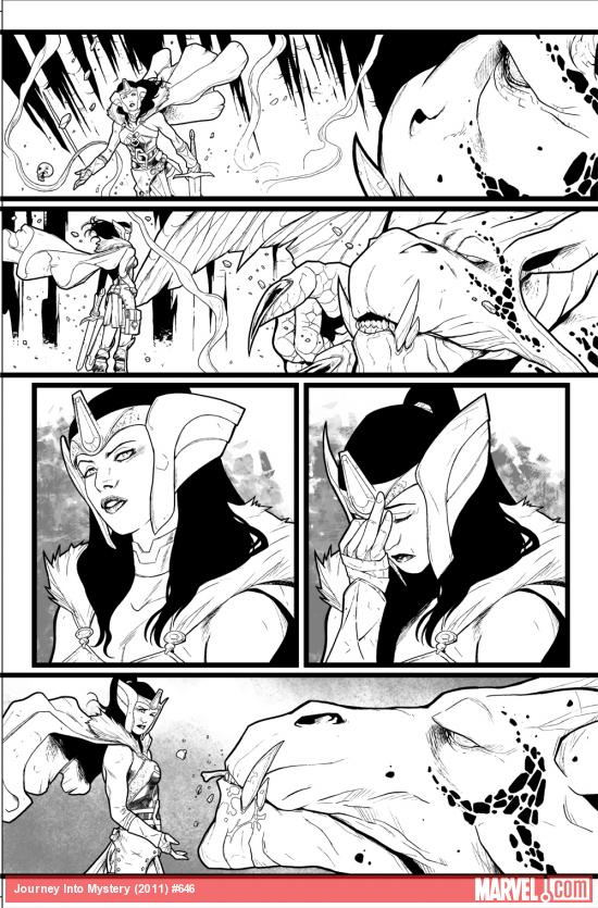 Journey Into Mystery #646 preview inks by Valerio Schiti