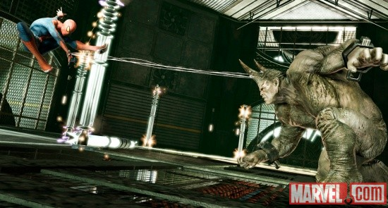 Screenshot of the Rhino and Spider-Man in the Amazing Spider-Man video game