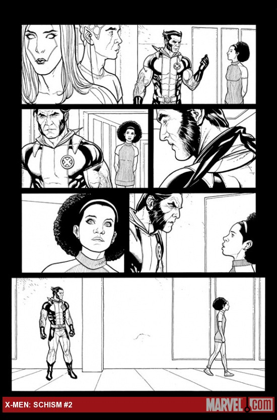 X-Men: Schism #2 inked preview art by Frank Cho