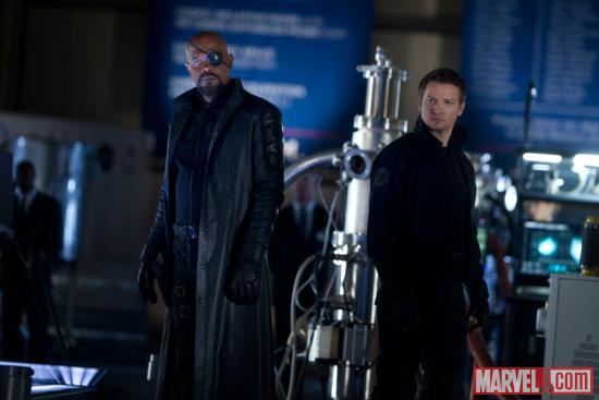 Samuel L. Jackson and Jeremy Renner star as Nick Fury and Hawkeye in Marvel's The Avengers