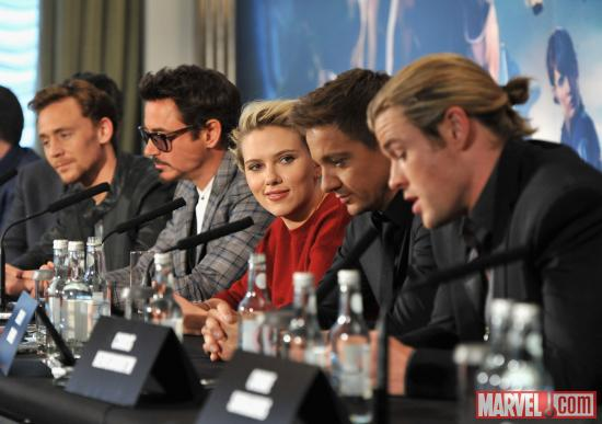 "The cast at the press conference at the London premiere of ""Marvel's The Avengers"""
