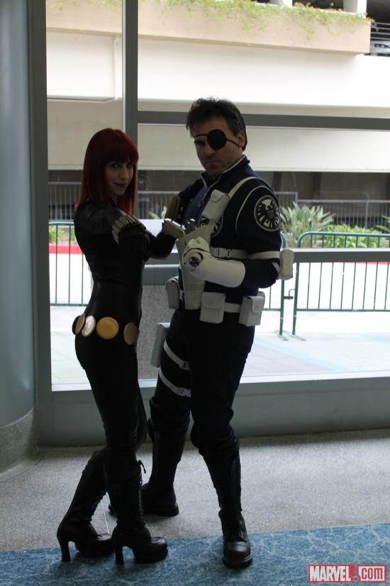 Black Widow and Nick Fury cosplayers at WonderCon 2012