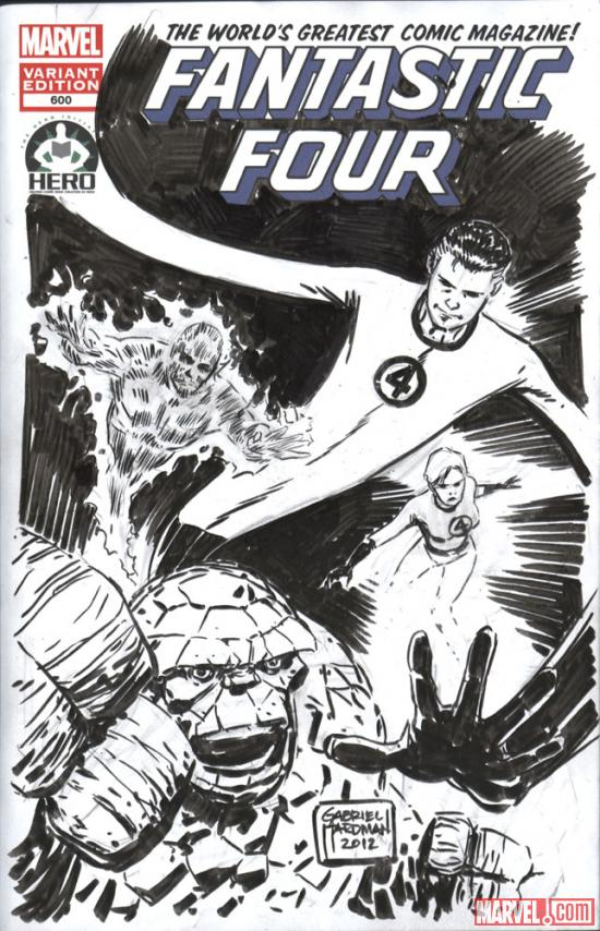 Fantastic Four #600 Hero Initiative variant cover by Gabriel Hardman 