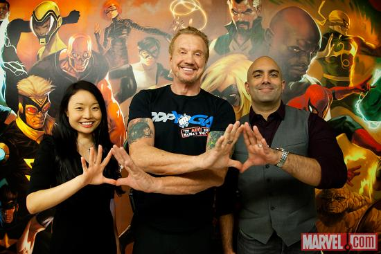 Diamond Dallas Page with Agent M and Marvel's Arune and Michelle Singh at Marvel HQ