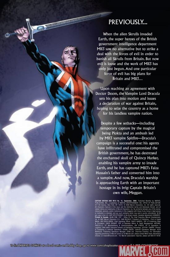 CAPTAIN BRITAIN AND MI13 #15, intro page