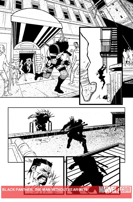 Black Panther: The Man Without Fear #519 black and white preview art by Jefte Palo