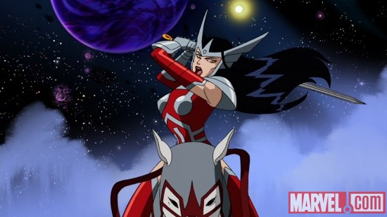 Sif rides into battle in The Avengers: Earth's Mightiest Heroes!