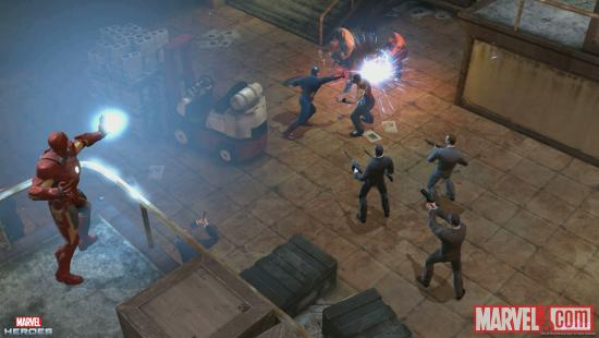Screenshot of Iron Man and Captain America in action in Marvel Heroes