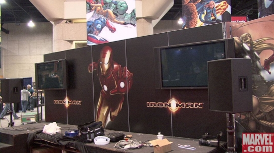 Marvel booth, mid-construction