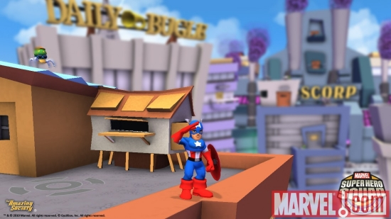 Screenshot of Captain America from ''Super Hero Squad Online''