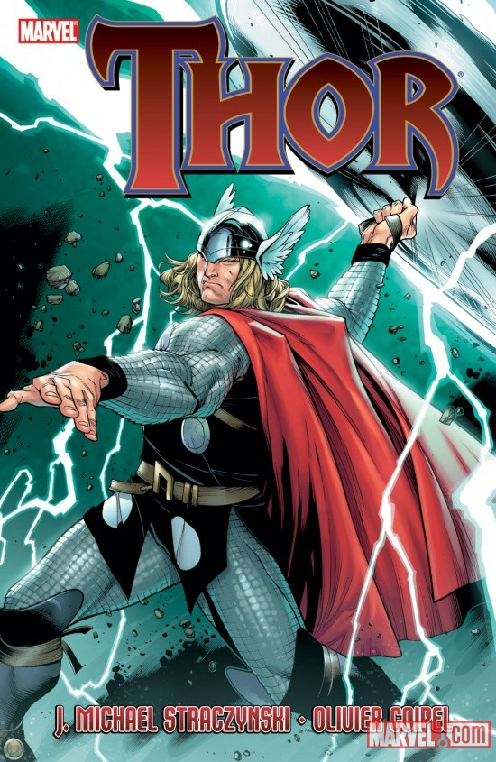 Thor by JMS volume one trade paperback cover by Olivier Coipel