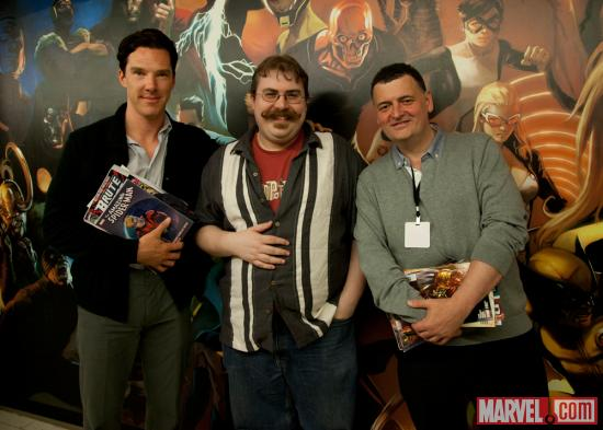 Sherlock Star Benedict Cumberbatch and Executive Producer Steven Moffat with Marvel editor Jordan D. White
