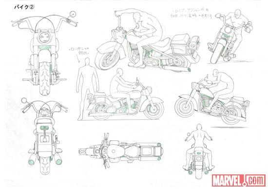 Model of Wolverine's bike from the Wolverine anime