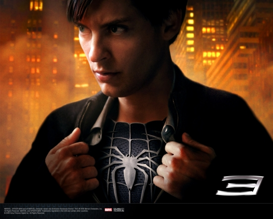 Spider-Man 3 Movie: Peter Showing Black Spidey Suit