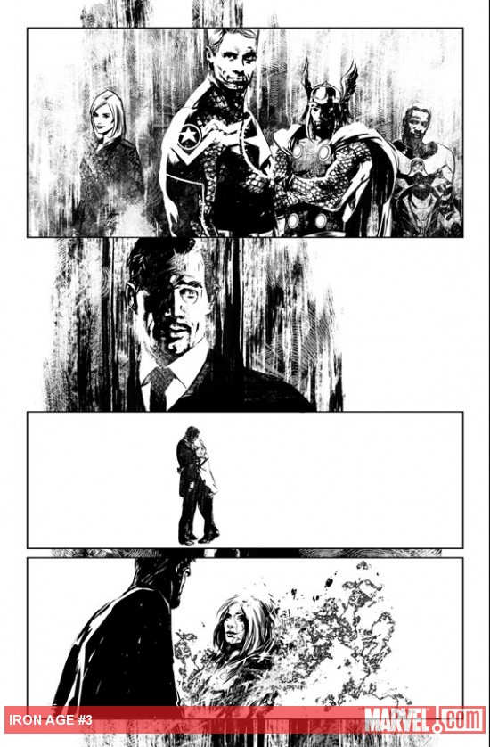 Iron Age #3 black and white preview art by Roberto De La Torre
