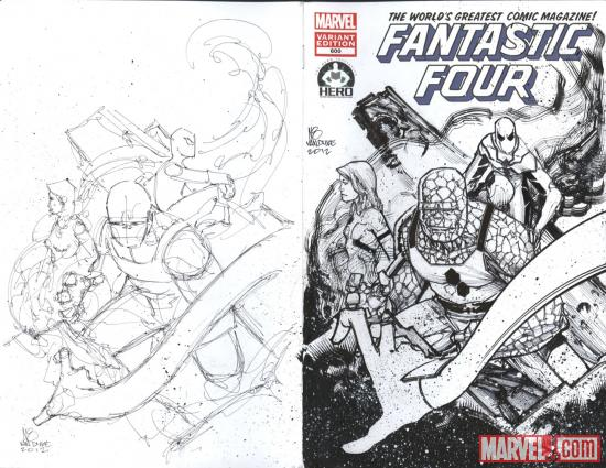 Fantastic Four #600 Hero Initiative variant cover by Nate Van Dyke