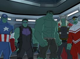 Hulk leads a team of Hulk-ified Avengers in Marvel's Avengers Assemble