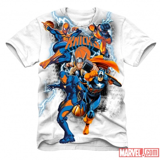 New York Knicks NBA Marvel Heroes T-Shirt Concept Art