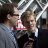Lucas Till (Havok) and Marvel Comics Senior Editor Nick Lowe at the 'X-Men: First Class' red carpet event in NYC