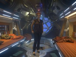 Nicole Perlman, co-writer of Marvel's Guardians of the Galaxy, on set of the film