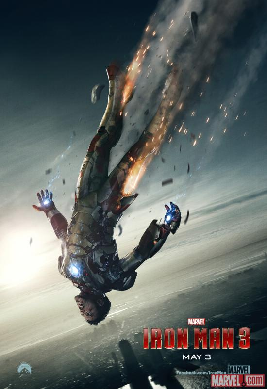 Tony Stark falls from the sky in the newest Iron Man 3 movie poster