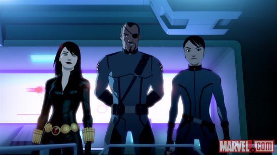 Black Widow and Nick Fury in &quot;Iron Man: Armored Adventures&quot;