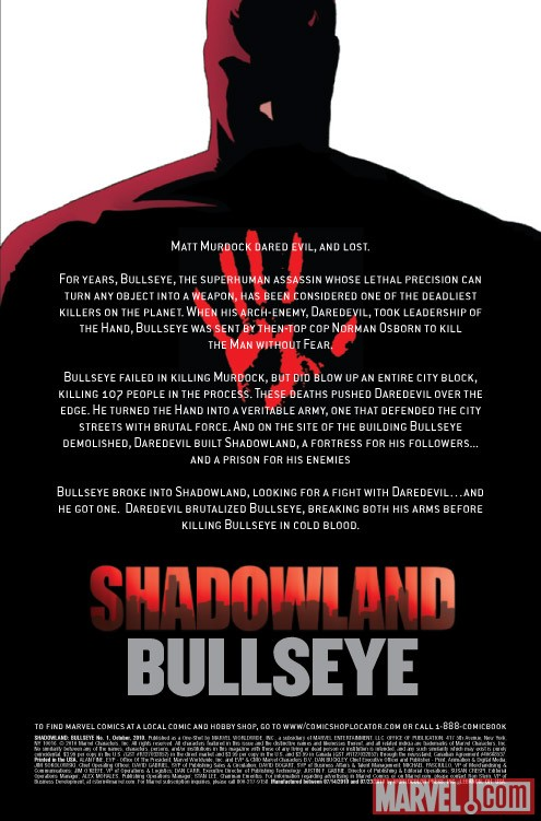 SHADOWLAND: BULLSEYE #1 recap page