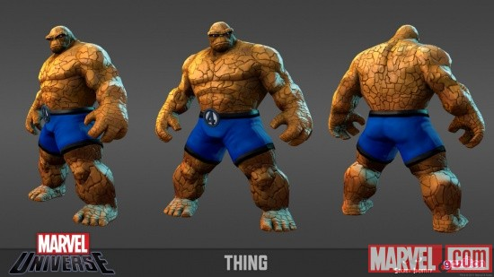 Thing model sheet from the Marvel Universe MMO
