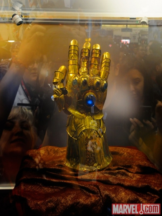 The Infinity Gauntlet prop, on display at Comic-Con 2010