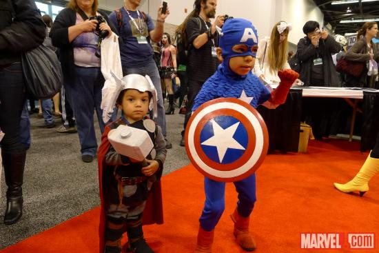 Kid Thor and Kid Captain America cosplayers at WonderCon 2012