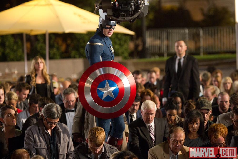 Chris Evans as Captain America on the set of Marvel's The Avengers