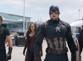 Heroes stand with Captain America (Chris Evans) in Marvel's 'Captain America: Civil War,' coming to theaters May 6!