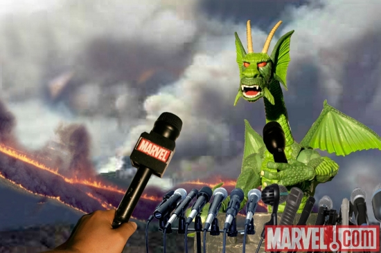 Fin Fang Foom calls a press conference