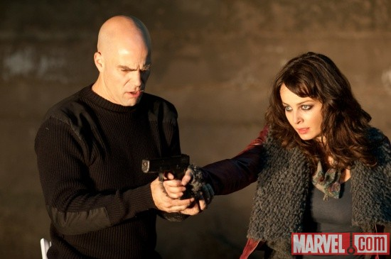Director Brian Taylor and Violante Placido on set of Ghost Rider: Spirit of Vengeance