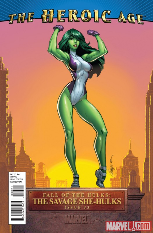 FALL OF THE HULKS: SAVAGE SHE-HULKS #3 Heroic Age variant cover by J. Scott Campbell