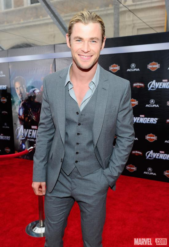 Chris Hemsworth on the Avengers red carpet