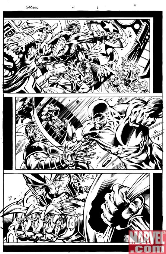 Black and white art by Paul Pelletier