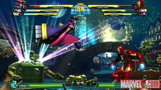 Marvel vs. Capcom 3 screenshot: Hsien-Ko vs. Iron Man