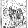 Harley-Davidson Captain America: The First Avenger print sketch by Adam Kubert