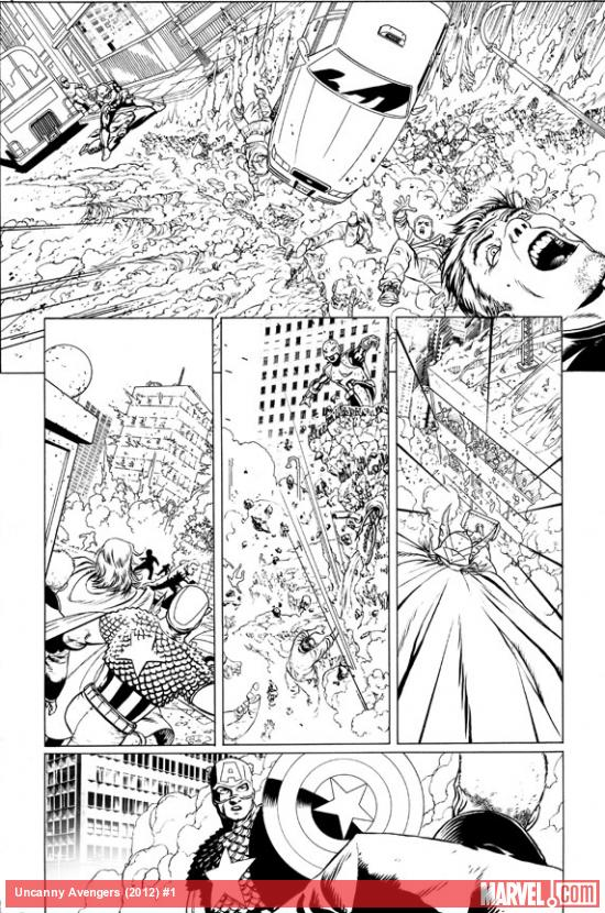 Uncanny Avengers #1 preview inks by John Cassaday