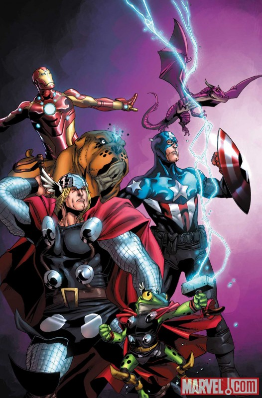 Image Featuring Lockheed, Lockjaw, Thor, The Winter Soldier, Pet Avengers, Frog Thor, Avengers