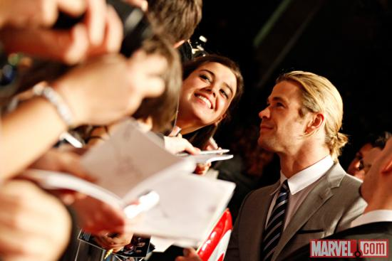Chris Hemsworth (Thor) at the red carpet premiere of Marvel's The Avengers in Rome