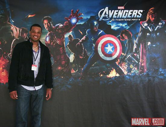 Yankees Second Baseman Robinson Cano and the Avengers at Marvel HQ