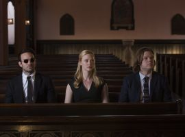 The offices of Nelson & Murdock share a somber moment in 'Marvel's Daredevil,' returning to Netflix on March 18!